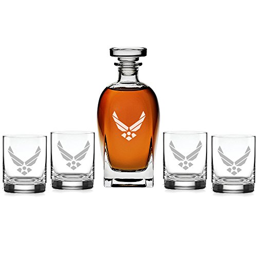 Abby Smith - US Airforce Classic Engraved Decanter with Rocks Glasses, Set of - Carved Hutch Hand