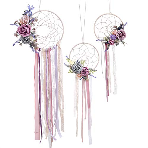 Ling's moment Handmade Boho Lavend Pink Dreamcatcher, French Romantic Lavender Theme Boho Decor, Floral Dreamcatcher with Tassel for Home Wedding Baby Shower,Set of 3 (Pink Cream Floral)