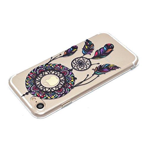 iPhone 7 Coque , Leiai Mode Noir Campanula Ultra-mince Transparent Silicone Doux TPU Housse Gel Etui Case Cover pour Apple iPhone 7