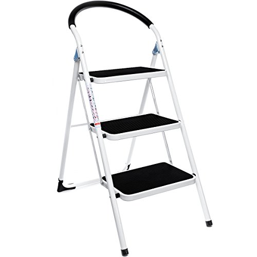Delxo 3 Step Ladder Folding Step Stool Lightweight