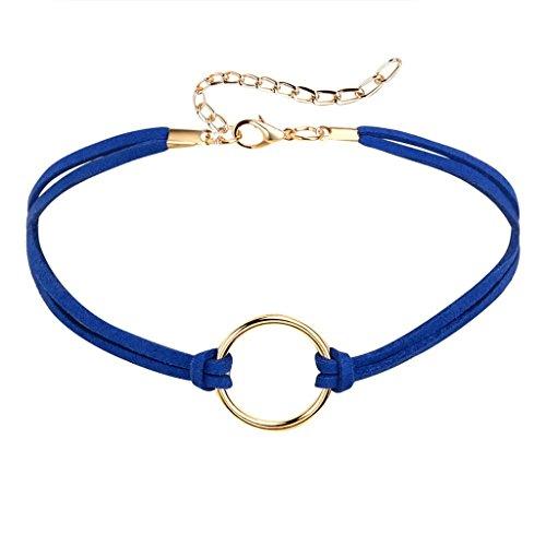 Daesar Womens Necklace Round Pendant Velvet Silver Black Pendant Choker Necklaces, 32+8.3CM; Adjustable