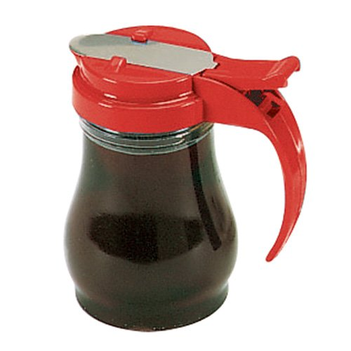 (Vollrath 1606 Dripcut Syrup Dispenser - 7 oz, Red Plastic Top )