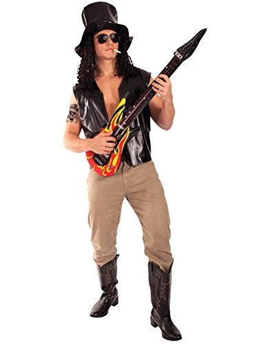 Slash 80s Metal Rock Fancy Dress 1980s Costume + Hat + Tattoo