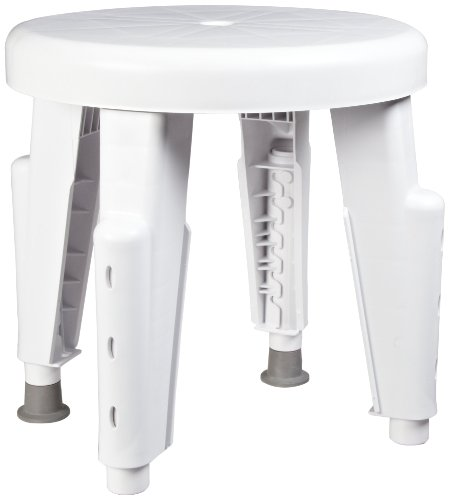 Maddak Round Shower Stool, Adjustable Legs (727152000) (Machine Slot Stool)