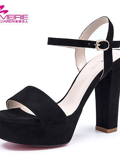 ShangYi MeiRieS Womens Shoes Faux Leather/Leatherette Chunky Heel Heels/Peep Toe/Open Toe Sandals Black