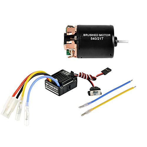 Jrelecs 540 21T 4 Poles Brushed Motor and WP-1060-RTR 60A Waterproof Brushed ESC Electronic Speed Controller with 5V/2A BEC for Axial RC4WD CROSS HPI MIST GMADE D90 D110 TF2 SCX10 ii PG4 MC8 WARAITH Y