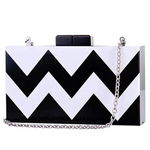Bags Black white Crossbody Clutch Acrylic White Black Handbags Women Purse JESSIEKERVIN Evening FP8pzn