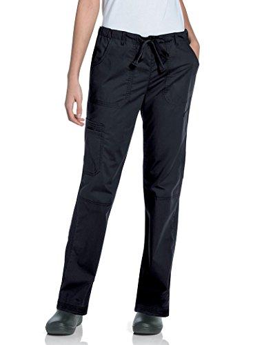 Landau Women's Plus Elastic Drawstring Prewashed Cargo Scrub Pant, Black, XX-Large Petite