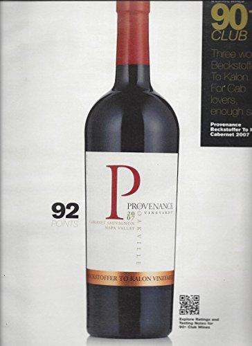 PRINT AD For 2007 Provenance Vineyard Cabernet Wine 90+ Club Rating Scene