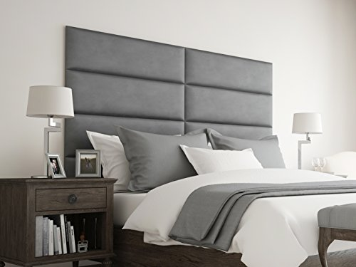 Faux Suede Headboards (VANT Upholstered Headboards - Accent Wall Panels - Packs Of 4 - Suede Gray - 39