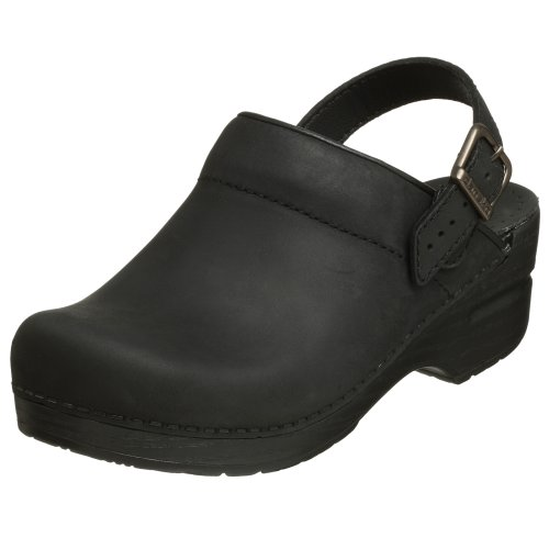 Dansko Women's Ingrid Black Oiled Leather Clogs 40 M by Dansko