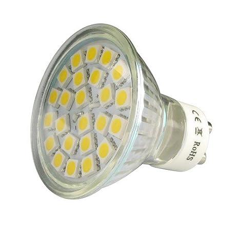 10 X Bombilla LED GU10 24SMD (5050) 5W Blanco Frío 6000k 380Lm 120° angulo 230V AC: Amazon.es: Iluminación