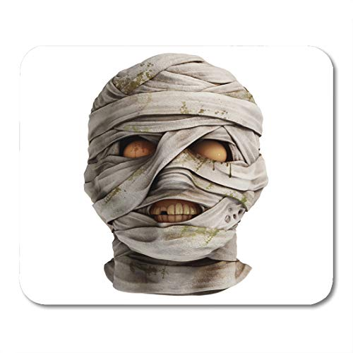 Emvency Mouse Pads Eerie Lifelike Mummy Head Covered Bandage Front View Realistic 3D Render Egyptian Mousepad 9.5