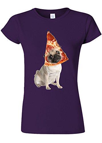持続的とげ宿題Pizza Pug Cute Dog Animal Novelty Purple Women T Shirt Top-M