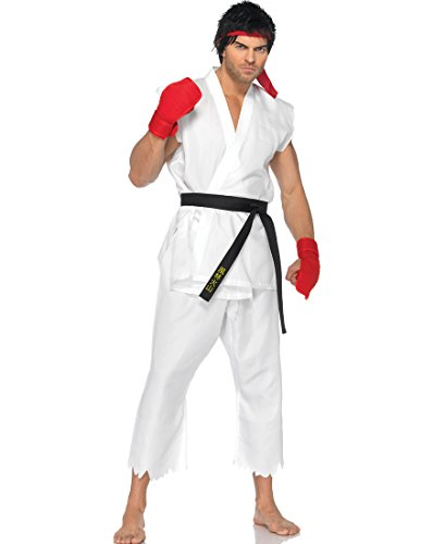 [Leg Avenue SF85081 Street Fighter Ryu Adult Costume - Medium/Large - White] (Ryu Costume)