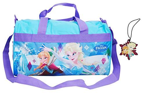 Disney / Frozen Bundle Duffel Bag & Luggage Tag 2pc Set Elsa Anna Print