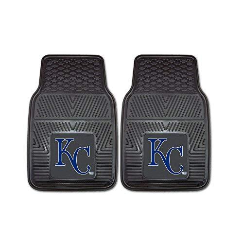 "2 Piece MLB Royals Car Mats, Baseball Themed Sports Floor Mats for Cars Trucks SUVs RVs Van Truck Carpet Rugs Universal Size Fit Team Logo Fan Gift, Heavy Duty Durable Vinyl, Black, 17""x27"""