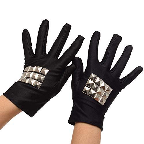 GK-O Anime Danganronpa Kirigiri Kyoko Cosplay Gloves Punk Black Elastic Rivet Glove