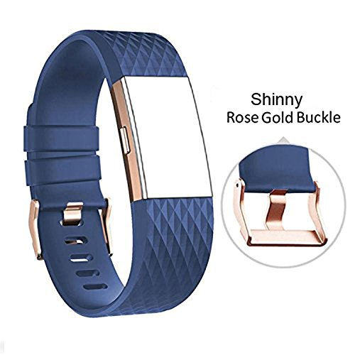 DB Charge 2 sai073 Band with Rose Gold Buckle for Fitbit Charge 2 Wrist Band Classic Fitness Flex Adjustable Colorful Fashion Sport and Sleep Clasp Bracelet Replacement Accessories