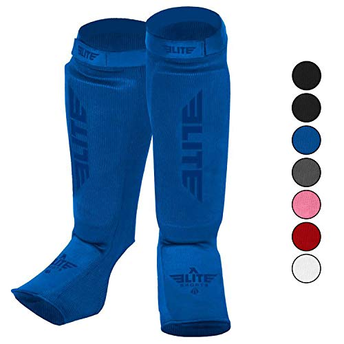 Elite Sports Muay Thai MMA Kickboxing shin Guards, Instep Guard Sparring Protective Leg shin Kick Pads for Kids and Adults (S-M, Blue)