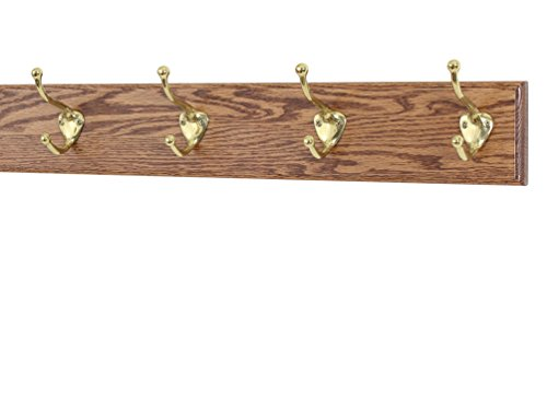 PegandRail Solid Oak Coat Rack with Solid Brass Hat and Coat Style Hooks - Made in The USA (Chestnut, 20