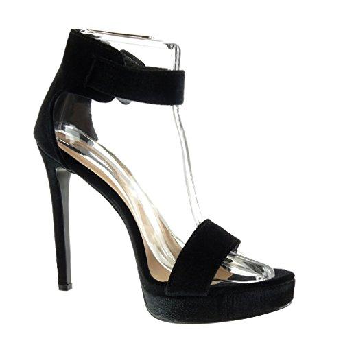 Scarpe Caviglia con Donna Tacco Cinturino Sandali con Stiletto 13 Stiletto Moda Decollete Fibbia Angkorly Zeppe Nero Alla Tacco cm Alto dRnqvAxd