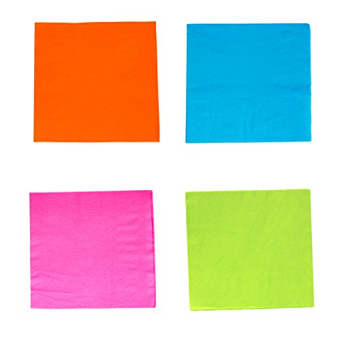 Party Essentials 2-Ply Paper Cocktail Beverage Napkins, Assorted Neon Brights, 48-Count