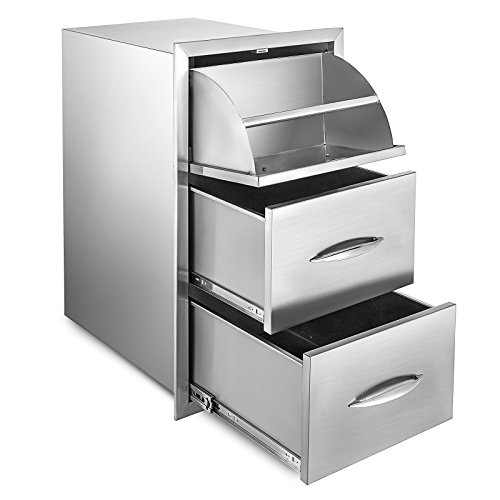 Mophorn Outdoor Kitchen Drawer Stainless Steel BBQ Storage with Chrome Handle Flush Mount Sliver (17 x 30 x 20.7 Inch, Triple Access Drawer) ()