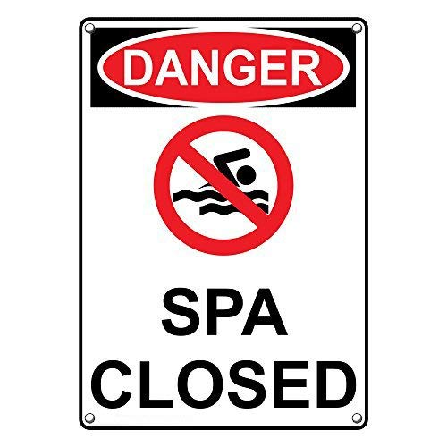- LilithCroft99 Vertical OSHA Danger Spa Closed Warning Signs and Plaque Aluminum for Private Property House Yard Sign 8