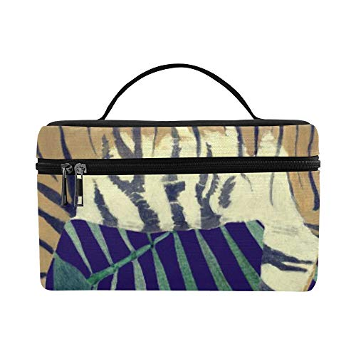Tropical Flower Leaves Feathers Animal Tiger Pattern Lunch Box Tote Bag Lunch Holder Insulated Lunch Cooler Bag For Women/men/picnic/boating/beach/fishing/school/work