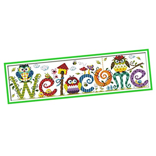 Welcome Chart Cross Stitch (Prettyia Stamped Cross Stitch Kit Pre-Printed Cartoon Owl Pattern - 11CT 3 Strands,1 4CT 2 Strands Cross-Stitching Needlework - 58 x 17 cm)