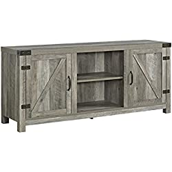 "WE Furniture W58BDSDGW Barn Door TV Stand, 58"", Grey Wash"