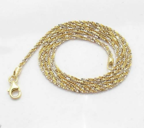 Hemau Sparkle Glitter Chain Necklace 14K Yellow White Gold Clad 925 Silver | Model NCKLCS - 97 | 20 (Gold Yellow 14k Glitter)