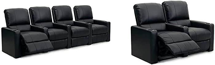Octane Seating Octane Charger XS300 Leather Home Theater Recliner Set (Row of 4), Black & Octane Charger XS300 Leather Home Theater Recliner Set (Row of 2), Black