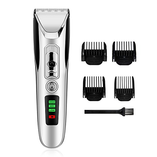 Cordless Hair Clipper for Men, Hair Cutting Machine with Trimmer Cutter 4 Combs Attachments, Professional Low Noise USB Charging-Silver (Hair Clipper)