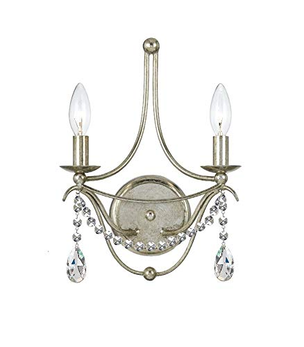 - Crystorama 412-SA-CL-MWP Metro II - Two Light Wall Sconce, Clear Hand Cut Crystal