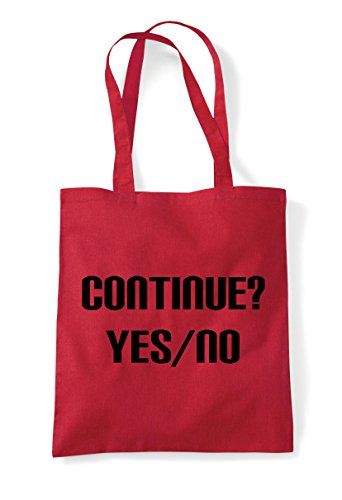 End Option Gaming Statement Bag Continue Yes No Tote Shopper Game Red gRTtS
