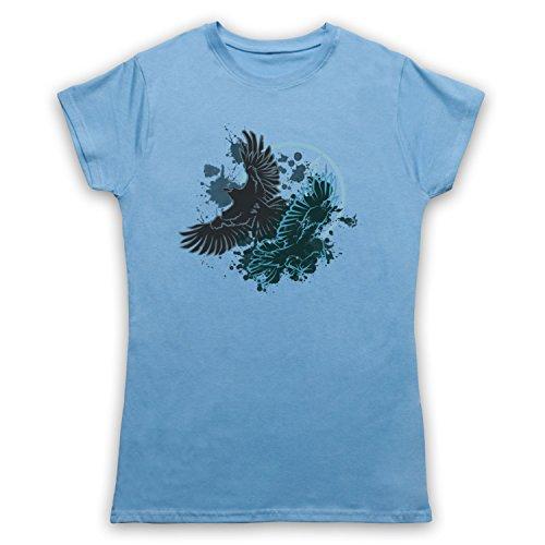 Ravens Gothic Illustration Camiseta para Mujer Azul Cielo