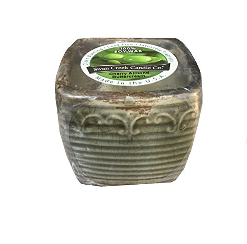 - Cherry Almond Buttercream Vintage Square Pot Swan Creek Candle (Color: Pewter)
