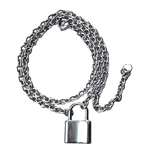soAR9opeoF Vintage Men Women Stainless Steel Padlock Pendant Rolo Cable Chain Necklace Girls Party Charm Silver ()