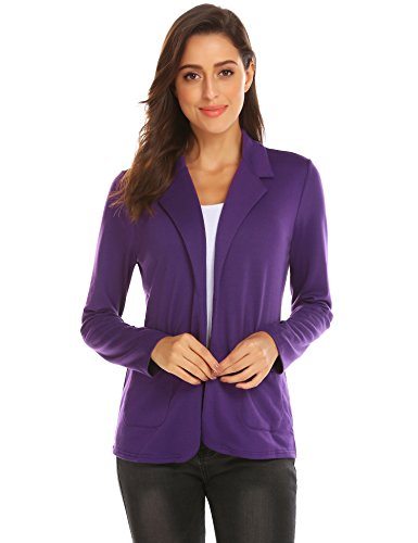 Zeagoo Womens Casual Work Office Blazer Open Front Long Sleeve Cardigan Jacket (Purple, M)