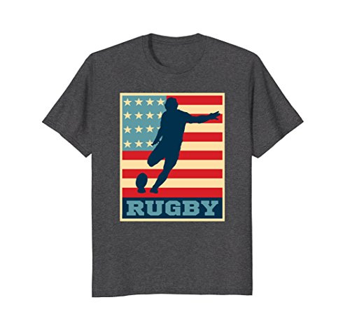 Flag Cotton Rugby Shirt - Mens American Flag Rugby Shirt Vintage and Retro Rugby Tee 3XL Dark Heather