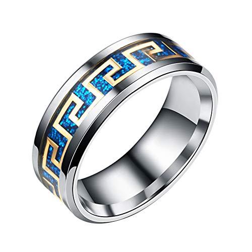 856store Big Promotion Anillo de Acero de Titanio con Purpurina geométrica, incrustado, para Hombres y Mujeres, Azul, 26 (8...