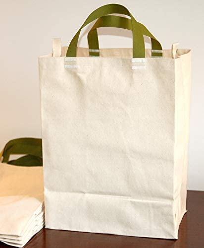 Turtlecreek Made in USA Cotton Canvas Reusable Grocery Tote Bags w/ Short Green Handles - Regular Size - Two Pack