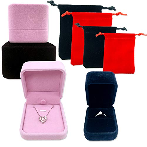 ACKLLR 4 Pack Velvet Jewelry Boxes, with 4 Pieces Small Drawstring Bag, Ring Pendant Display Gift Boxes with Cloth Carrying Case for Proposal Engagement Wedding Presentation,Black/Pink,2 Sizes