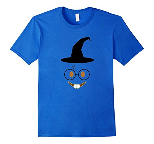 Smiley Costume Falls (Mens Emoji Nerd Smiley Face Wizard Hat Halloween Costume T-Shirt Medium Royal Blue)