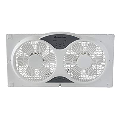 Comfort Zone CZ310R 3-Speed 3-Function Expandable Reversible Twin Window Fan with Remote Control and Removable Cover and Bug Screen