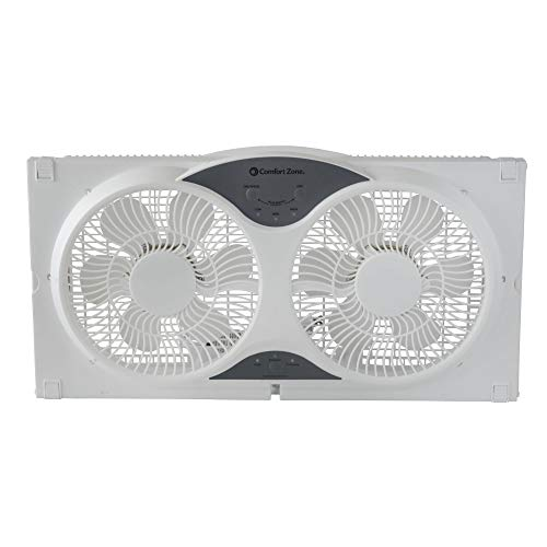 Comfort Zone CZ310R 3-Speed 3-Function Expandable Reversible Twin Window Fan with Remote Control and Removable Cover and Bug Screen ()
