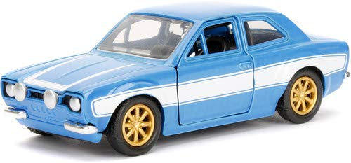 Jada Toys Fast & Furious Movie 1970 Brian's Ford Escort Blue with White Stripes, 1/32 Die-cast Model Car (1970 Ford Escort)