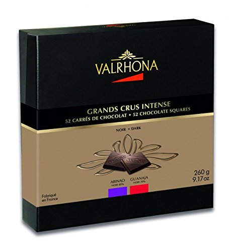 Valrhona 52 French Gourmet Chocolate Squares Guanaja & Abinao, Dark chocolate 70% and 85% cocoa, Gift box 9.2oz